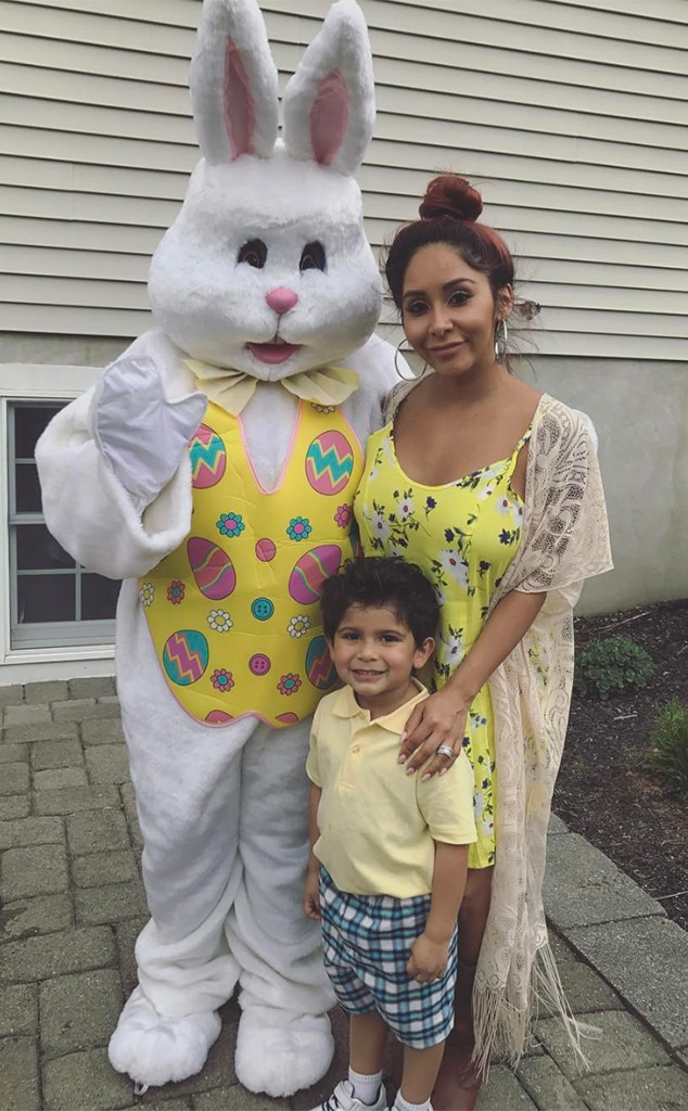 Easter Time -  Snooki and Lorenzo stopped for a photo with the Easter Bunny.