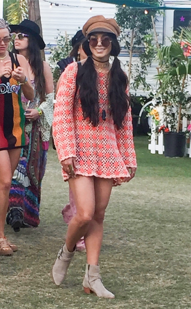 Vanessa Hudgens -  The  Second Act  actress dazzles at the music fest with her colorful crochet dress and newsboy hat.