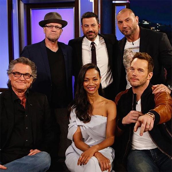 Dave Bautista, Chris Pratt, Michael Rooker, Kurt Russell, Zoe Saldana, Jimmy Kimmel, Jimmy Kimmel Live