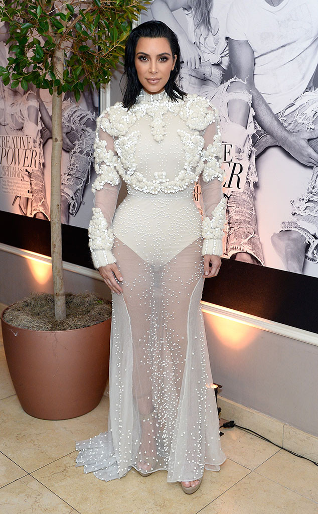 Kim Kardashian Channels Her Wedding Day Glam in Completely Sheer Gown at 2017 Fashion Los Angeles Awards