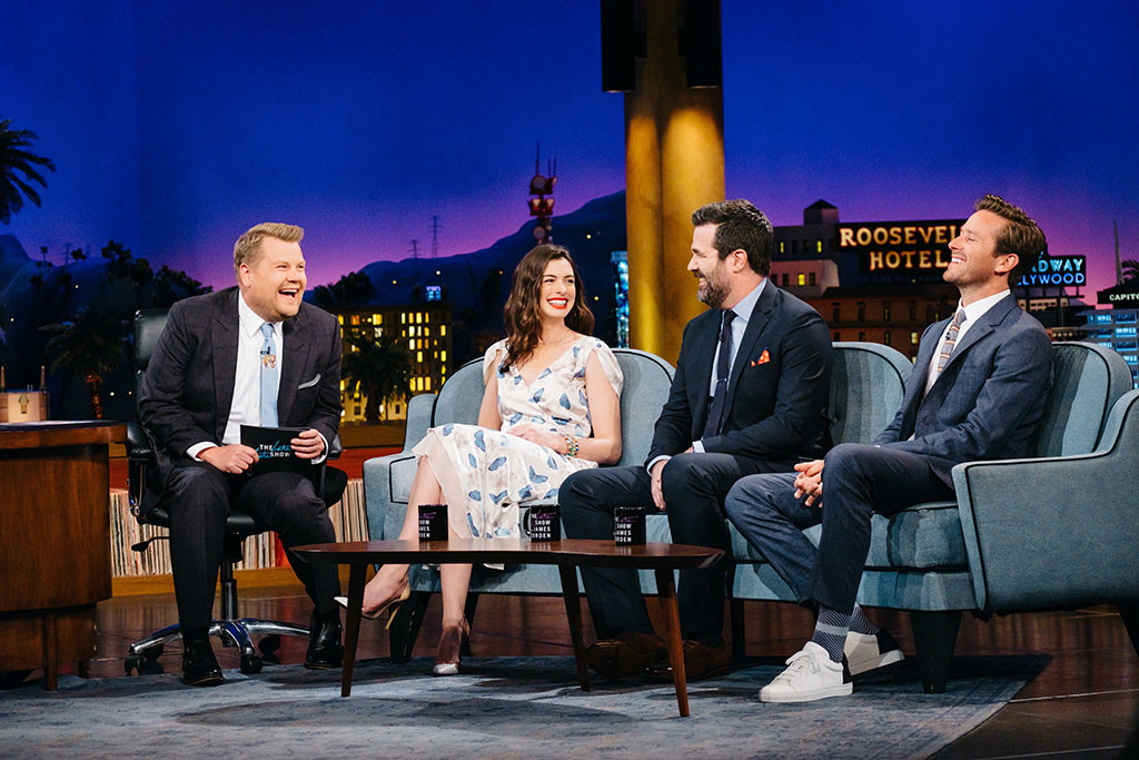 Anne Hathaway, Rob Delaney, Armie Hammer, James Corden, The Late Late Show