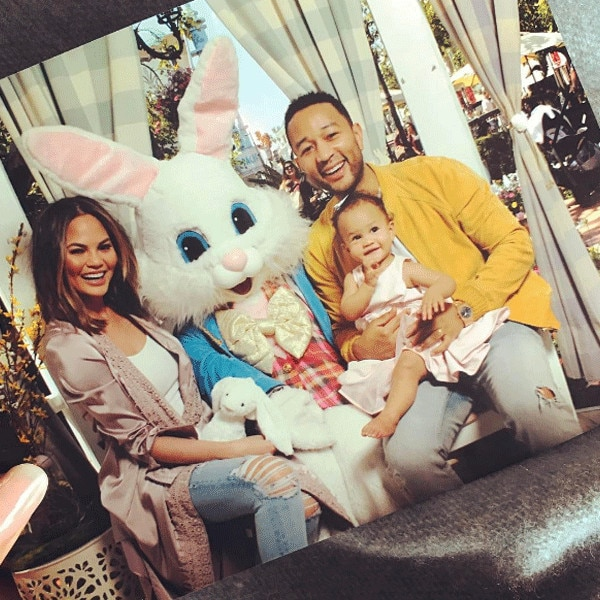 Bunny Hop -  The family of three was all about their adorable 2017 Easter celebration.