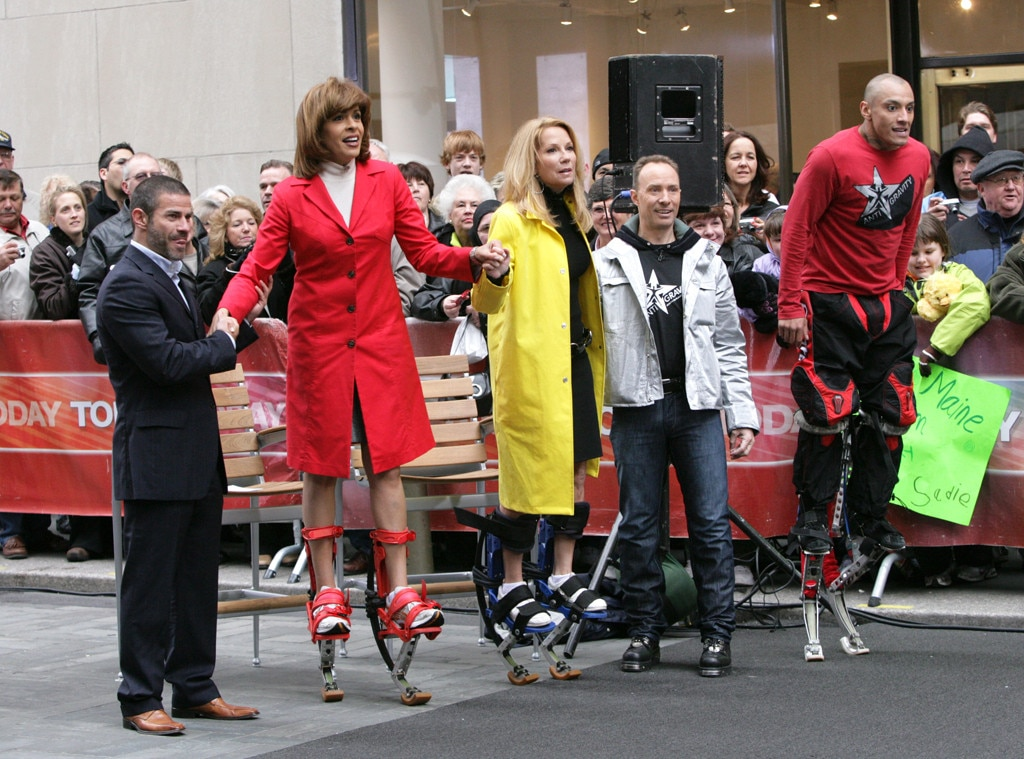 "Her First Day -  Nothing says ""Welcome to  Today "" like being strapped to pogo stick shoes and hopping around on camera. Kathie Lee's arrival on April 7, 2008 set the tone for the sort of madcap moments that would become her hallmark as co-host of the venerable daytime show's fourth hour."