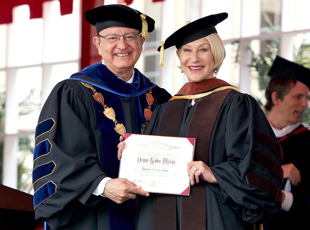 Helen Mirren -  USC's new Doctor of Humane Letters stands proudly with the university's president and her new degree.