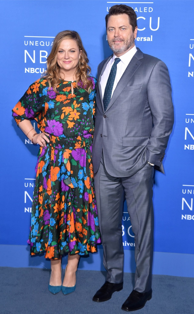 amy poehler nick offerman from nbcuniversal upfront 2017 red carpet arrivals e news australia. Black Bedroom Furniture Sets. Home Design Ideas
