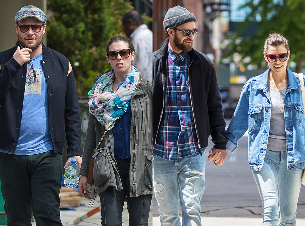 Seth rogen and his wife just realized justin timberlake and jessica seth rogen lauren miller justin timberlake jessica biel m4hsunfo