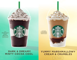 Midnight Mint Mocha and Smores Frappuccino