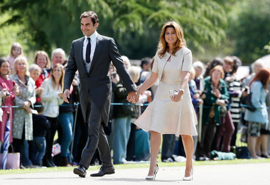 roger federer mirka federer from pippa middleton 39 s wedding arrivals e news. Black Bedroom Furniture Sets. Home Design Ideas