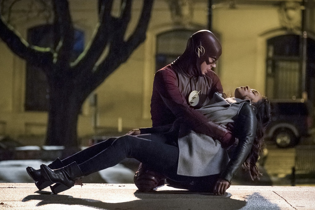 """The Flash  -  Most ofseason threeof The Flash was focused on the fact that Barry ( Grant Gustin ) knew Iris ( Candice Patton ) was going to die in the future, and as much as that bummed everyone out, there was absolutely no way Iris was ever going to die, no matter how many times Barry's trips to the future told him she would. Sure, it was sad to watch Iris accept her """"fate,"""" but every fan knew that eventually, somebody (likely Barry) was going to figure out how to save her."""