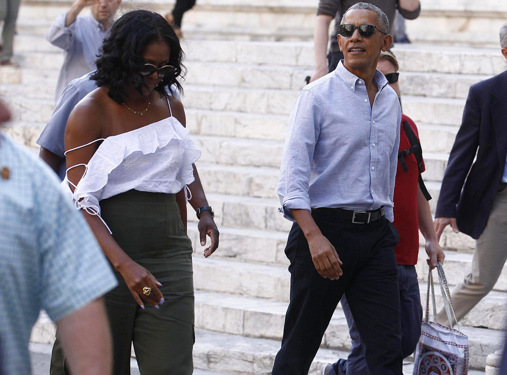 ad8e88f62b940e The Obamas Take Italy: Golf, Food, Friends, PDA, Shoulder-Baring ...