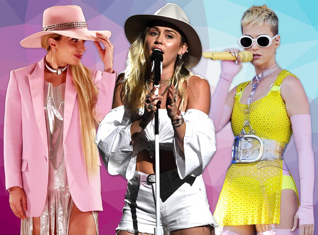 Lady Gaga, Miley Cyrus, Katy Perry, Pop Star Collage