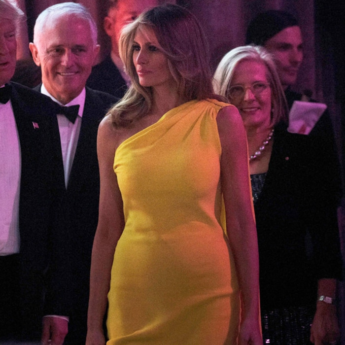 Melania Trump Stuns In Yellow Dior Gown At Her And Donald Trumps