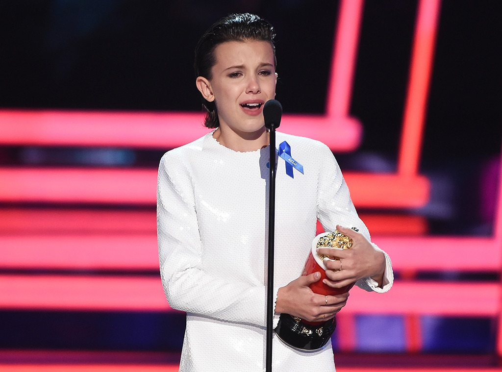 "First Acting Accolade -  Millie takes home the Best Actor in a Show for  Stranger Things  at the 2017 MTV Movie and TV Awards. Along with thanking the cast and crew of the hit series, she praises the creators for making ""a badass female iconic character."""
