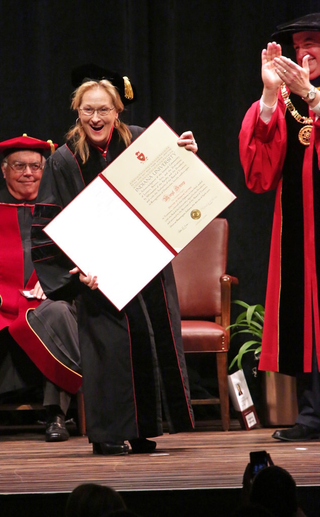 Meryl Streep - The Devil Wears Prada but the actress prefers a cap and gown! The star has eight honorary degrees from schools including Princeton, Yale, and Harvard.