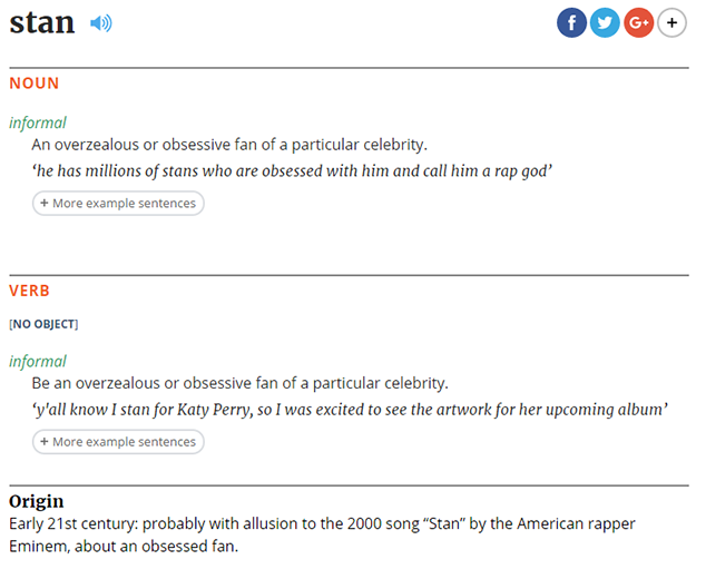 The Word Stan Was Added To The Dictionary Today Thanks To