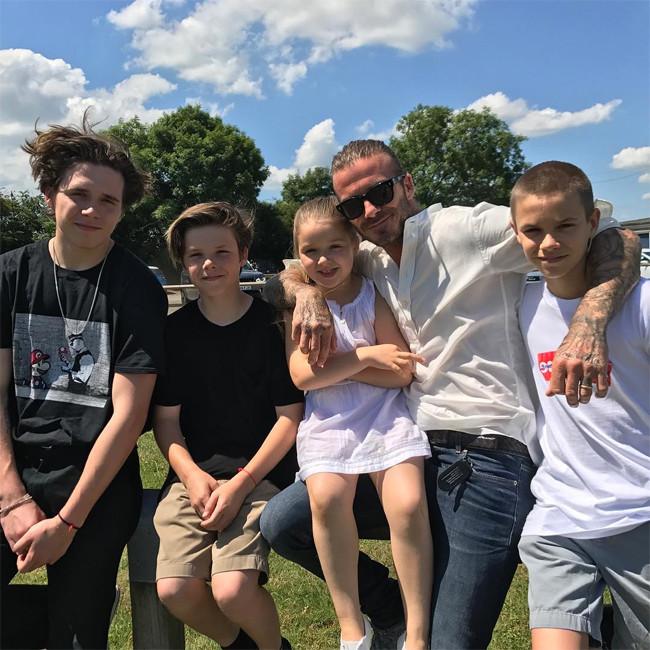 David Beckham, Kids, Harper Beckham, Brooklyn Beckham, Romeo Beckham, Cruz Beckham, Father's Day 2017