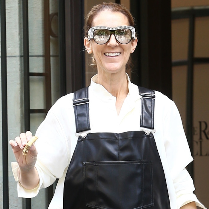 ab06f49d8a8 Celine Dion Rocks Faux Leather Overalls and Sparkling Shades in Paris