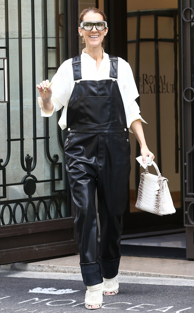 137c8bdf03b Celine Dion Rocks Faux Leather Overalls and Sparkling Shades in Paris