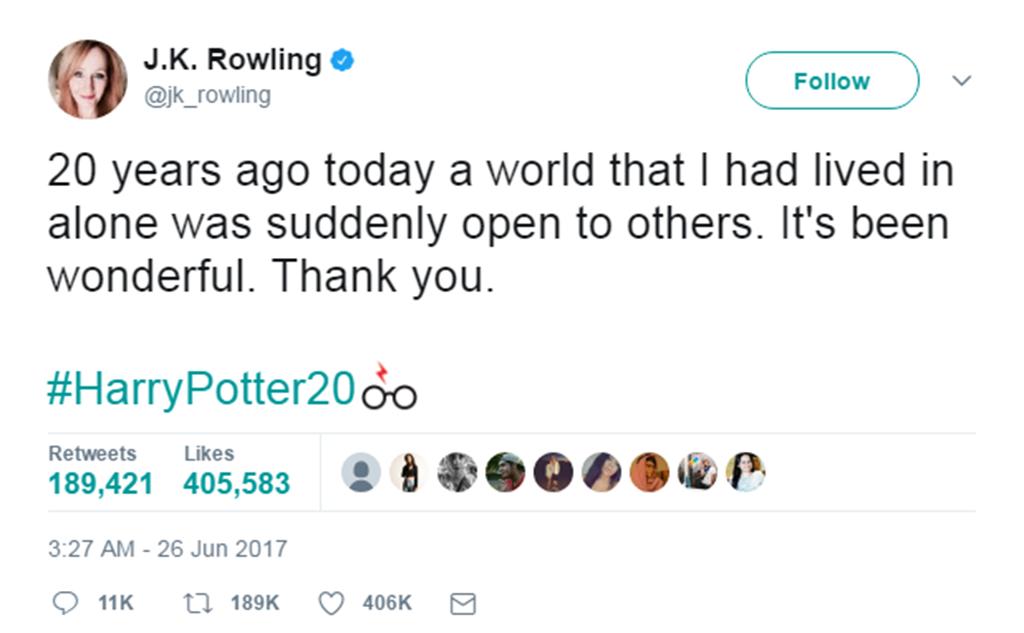 Harry Potter, J.K. Rowling, Twitter