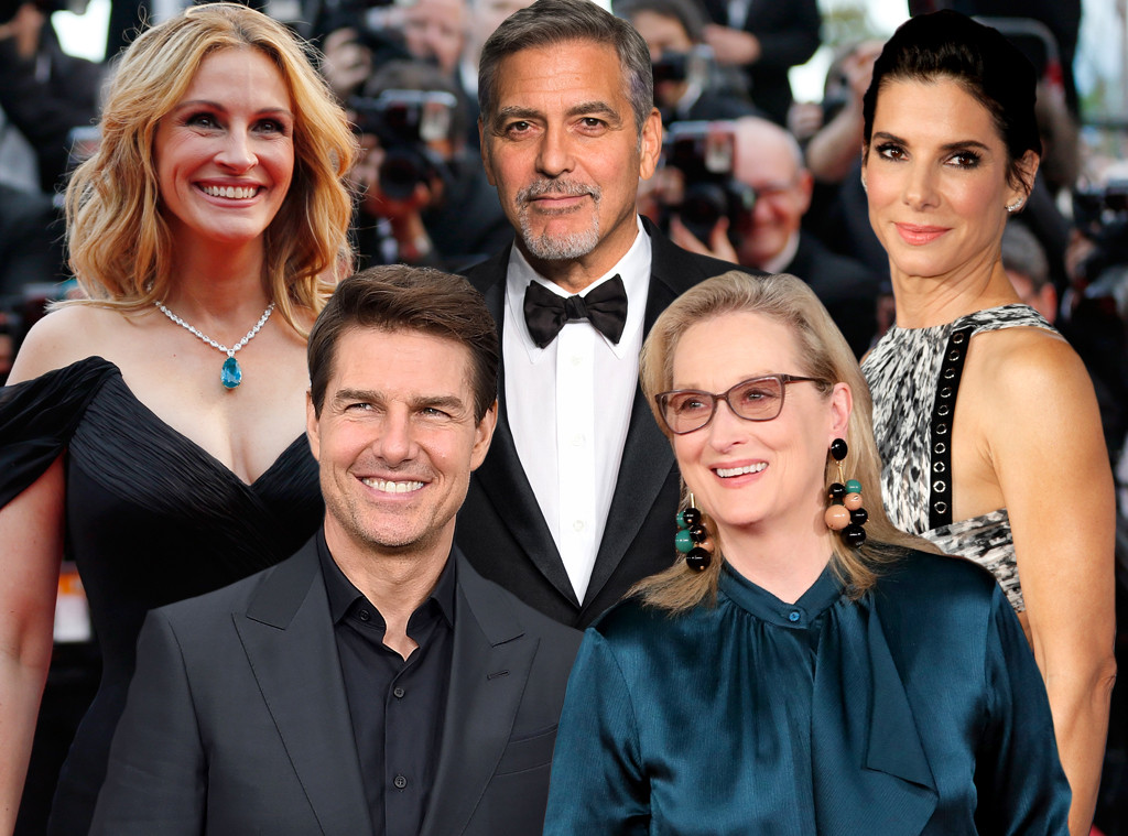 Julia Roberts, George Clooney, Sandra Bullock, Tom Cruise, Meryl Streep, The Old Guard A-List Collage