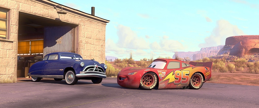 12. Cars  (2006) -  On his way to race Chick Hicks ( Michael Keaton ) and The King ( Richard Petty ) for the Piston Cup Championship, Lightning McQueen (Wilson) falls out of his trailer and finds himself in a forgotten town called Radiator Springs.