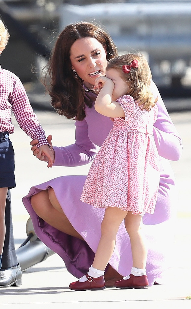 Kate Middleton -  Even royal kids throw tantrums—just ask the Duchess of Cambridge. The famous mom was  spotted consoling her  then-2-year-old daughter, Princess Charlotte , on the tarmac during their royal tour ofPoland and Germany in 2017.