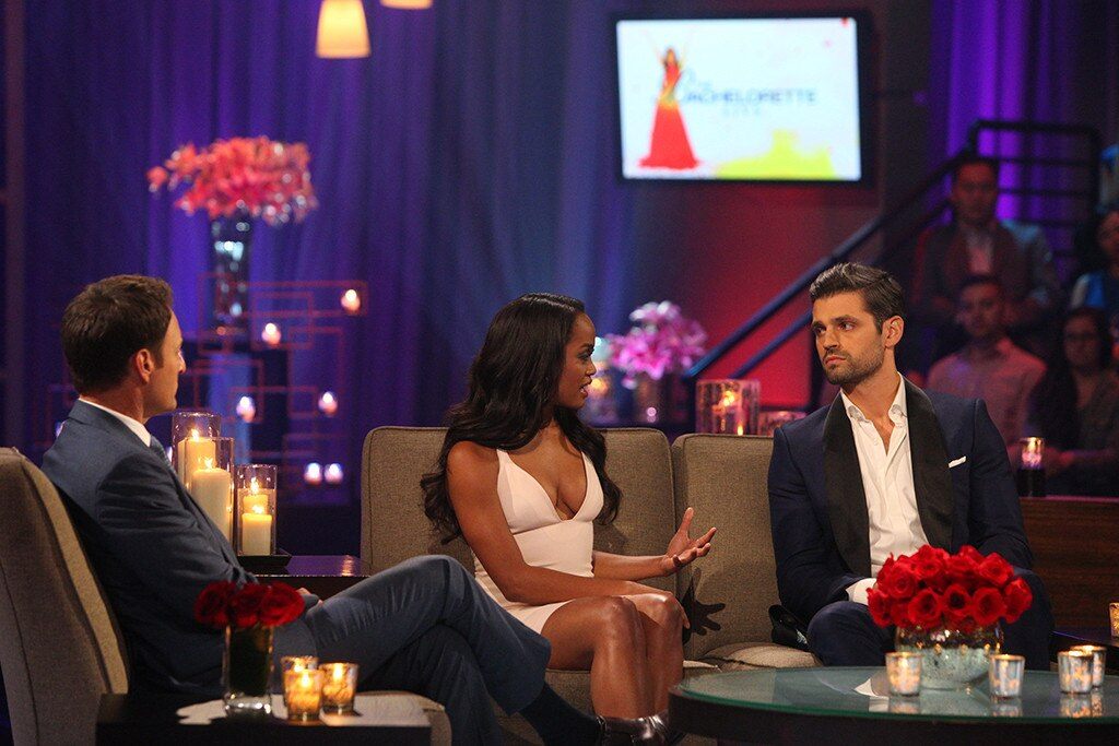 "Rachel Lindsay,  The Bachelorette , Season 13 -  On the season 13 finale of  The Bachelorette , Rachel Lindsay and Peter Kraus had a tearful discussion about getting engaged.    ""I don't know what I want to do tomorrow, because that is one day that means the rest of my life,"" Peter told Rachel."