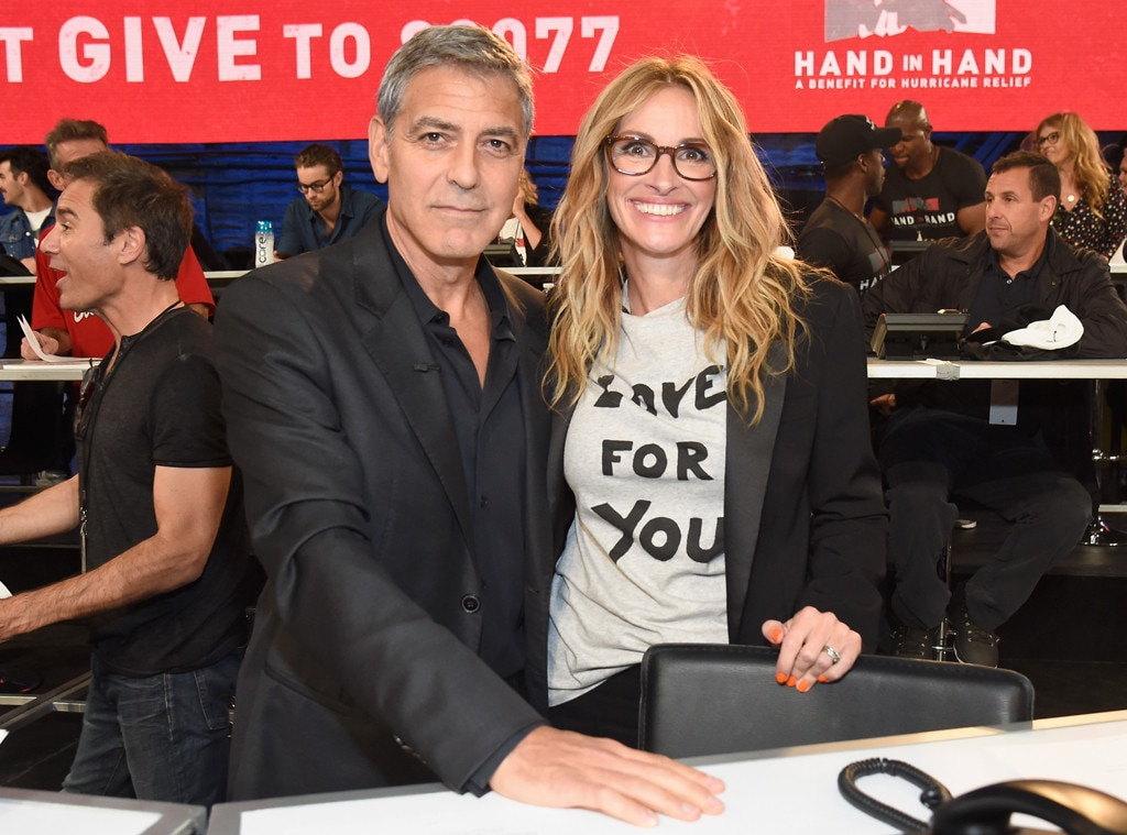 George Clooney & Julia Roberts, Hand in Hand: A Benefit for Hurricane Relief