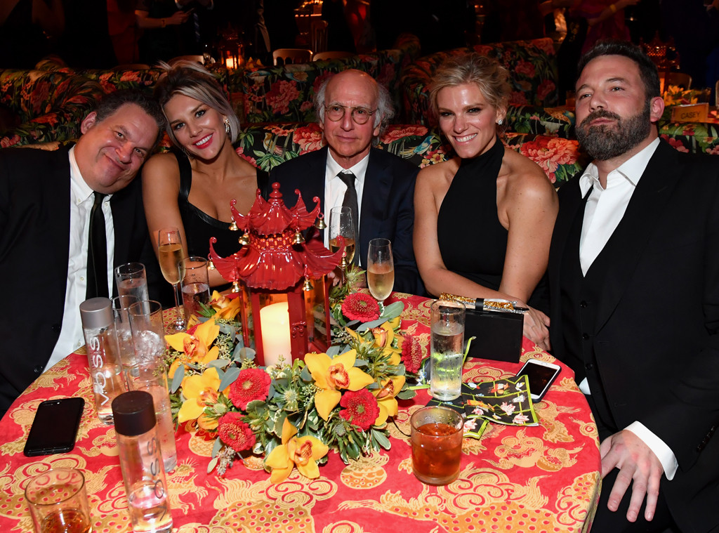 Jeff Garlin, Charissa Thompson, Larry David, Lindsay Shookus, Ben Affleck, HBO Emmy Party Pics 2017