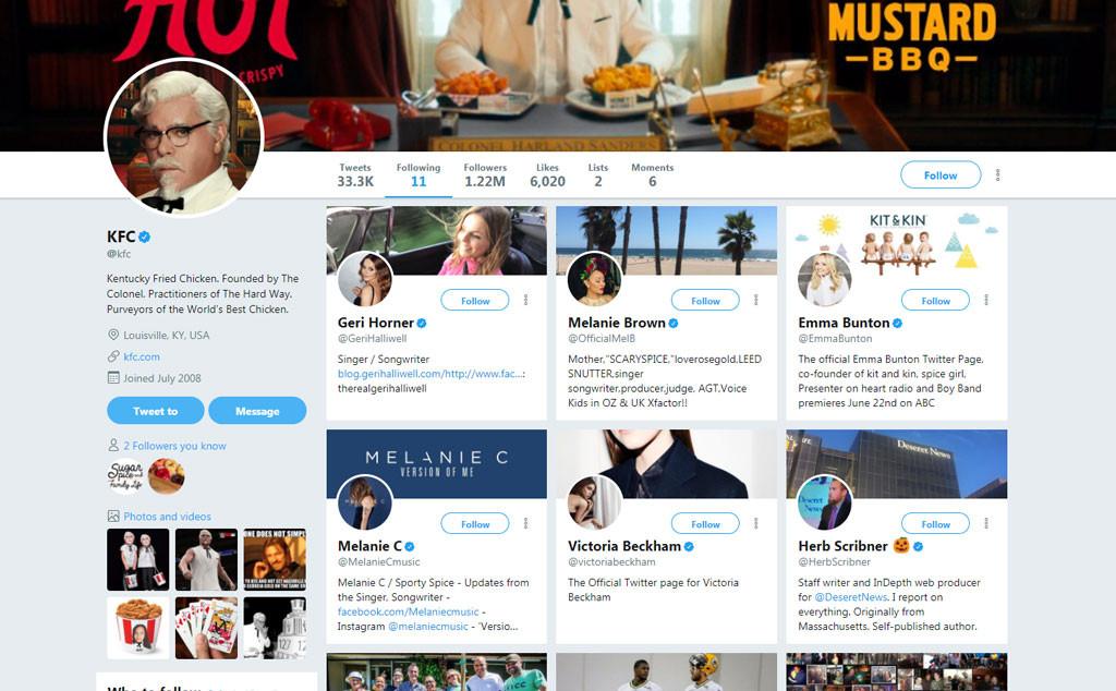 KFC, Twitter, Followers