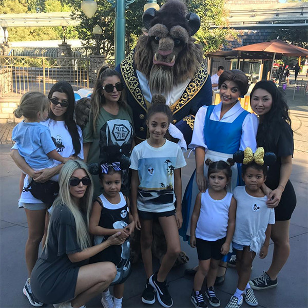 Kim Kardashian and Kourtney Take North West and Penelope Disick to Disneyland and Meet Characters From Beauty and the Beast