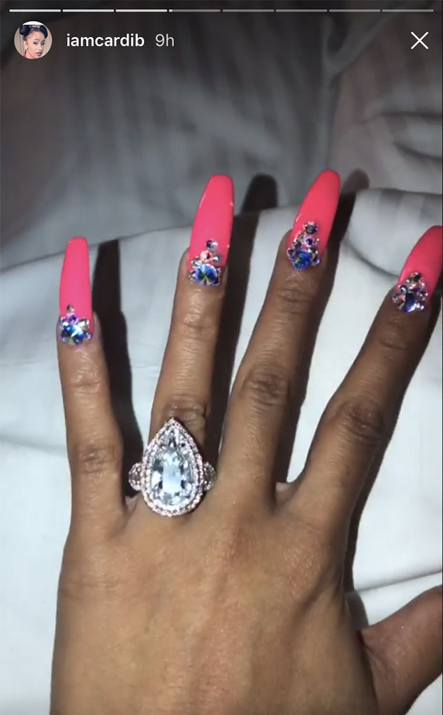 Cardi B Flashes Her Enormous 8 Carat Engagement Ring E News