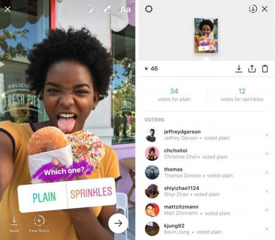 Instagram Stories enquete