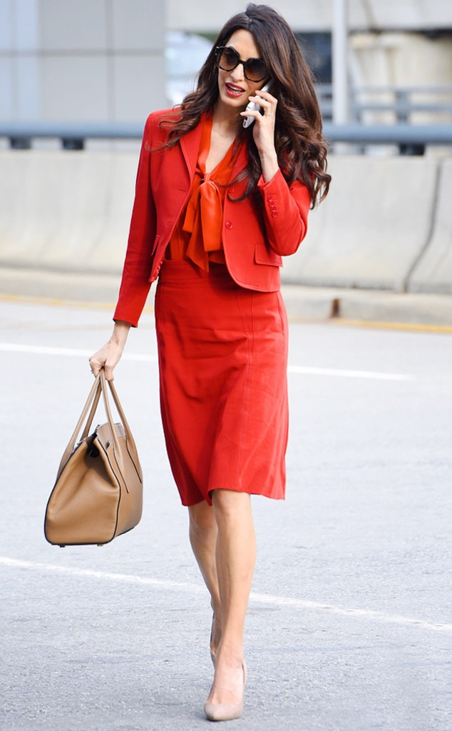 Business Belle -  The human rights barrister is ready to battle in this pillar-box red ensemble.