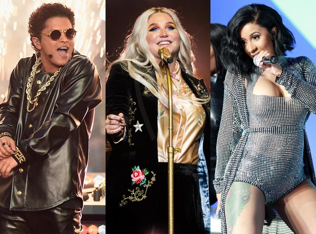 Bruno Mars, Kesha, Cardi B