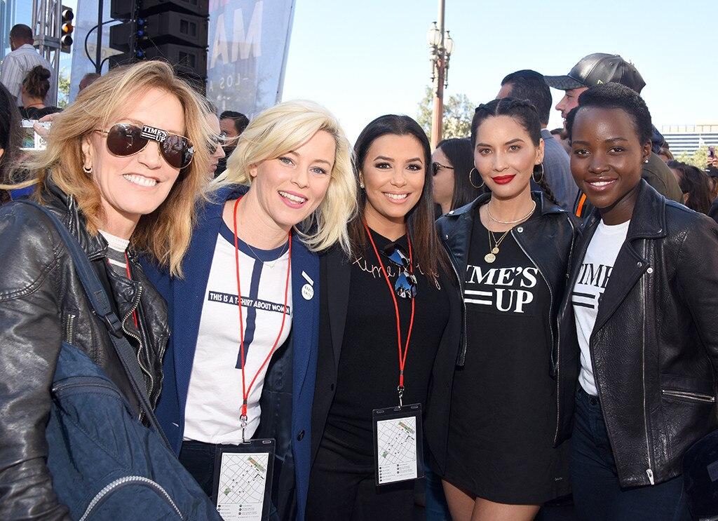 Felicity Huffman, Elizabeth Banks, Eva Longoria, Olivia Munn, Lupita Nyongo, Womens March, Los Angeles, 2018