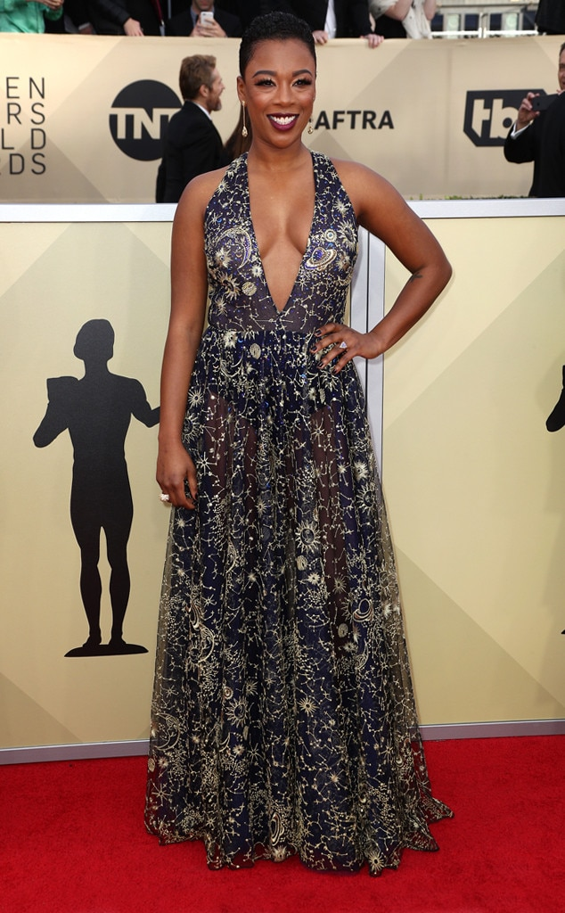 Samira wiley from 2018 sag awards red carpet fashion e news - Watch e red carpet online ...