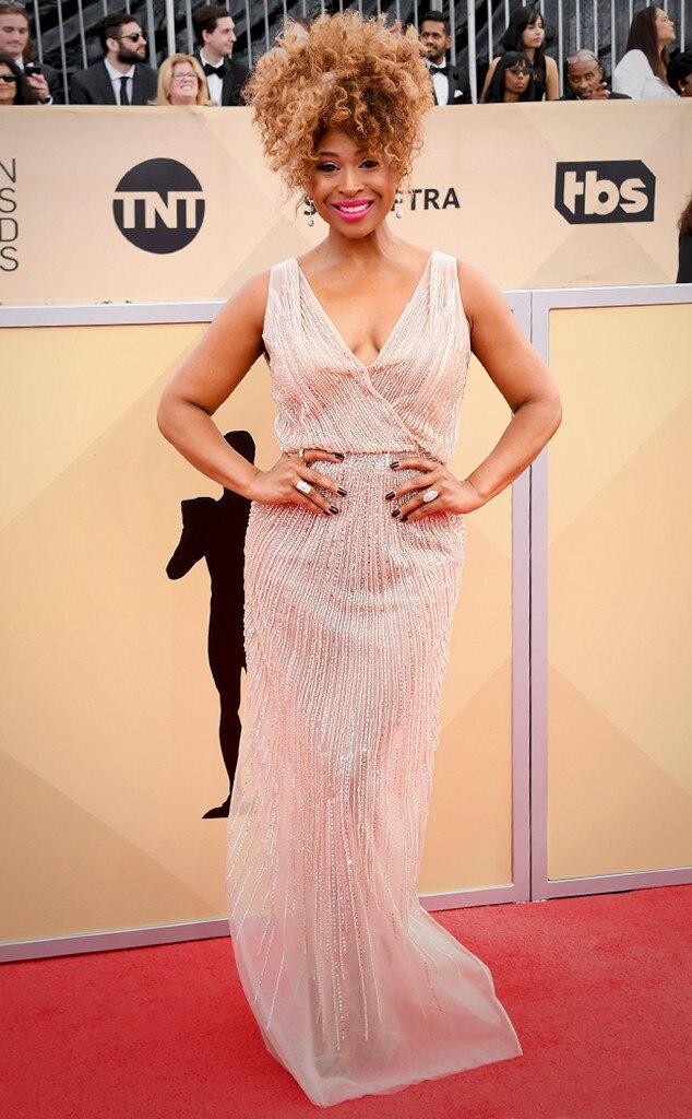 Tanika Ray From Stars Who Wore Blush Dresses At Sag Awards 2018 E