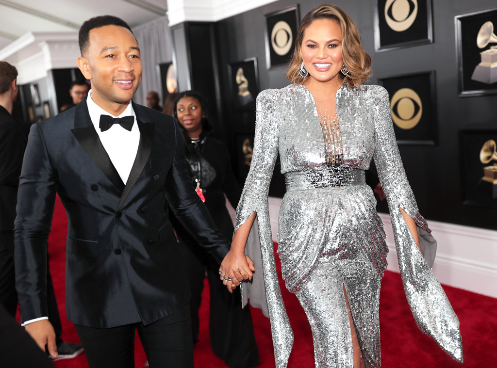 John Legend, Chrissy Teigen, 2018 Grammy Awards, Candids