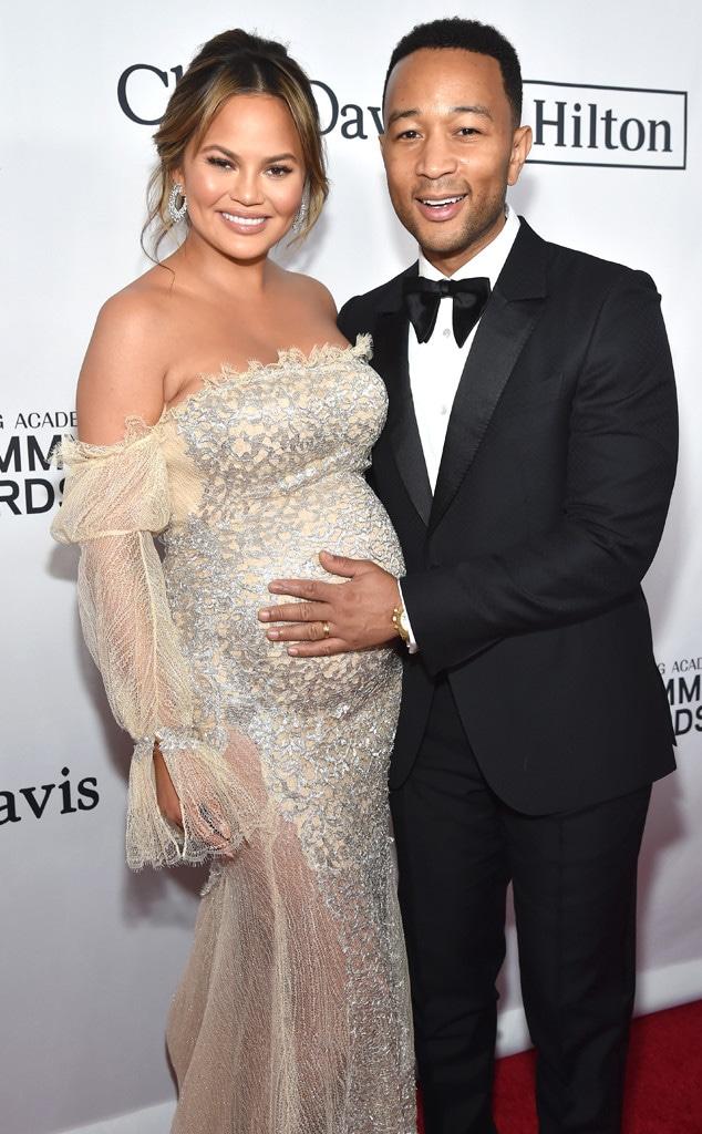 Chrissy Teigen, John Legend, 2018 Pre-Grammy Gala