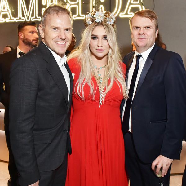 Peter Edge, Kesha, Rob Stringer, 2018 Grammy Awards, Party Pics
