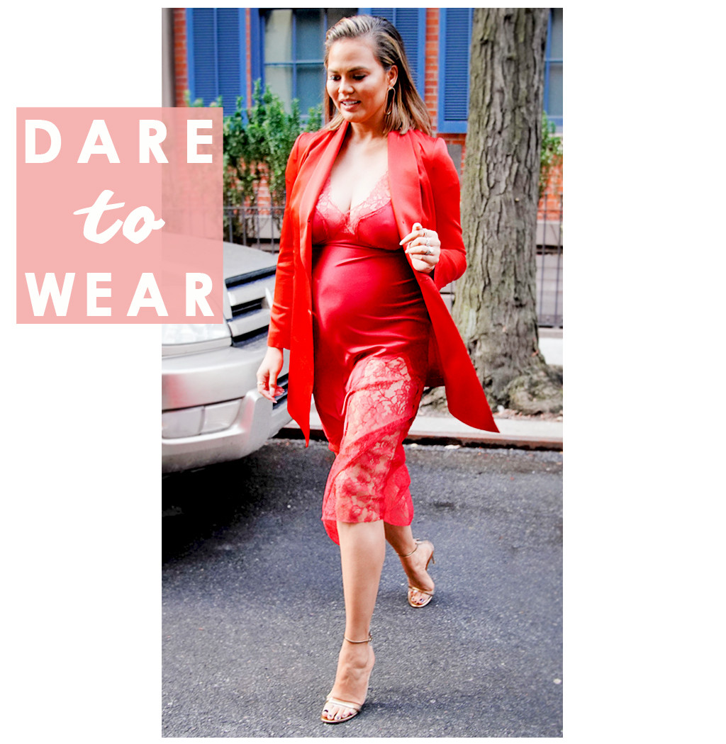 It's Lit! Pregnant Chrissy Teigen Is Fire in Red Lace Slip Dress