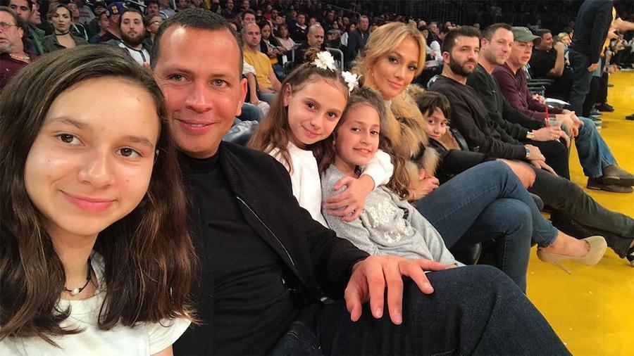 Jennifer Lopez, Alex Rodriguez, Kids, Max, Emme, Twins, Daughters, Natasha, Ella, Lakers Game