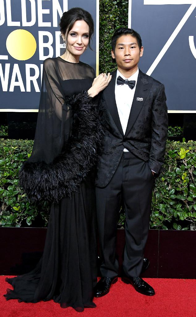 Angelina Jolie and Son Pax Jolie-Pitt Hit the 2018 Golden ...