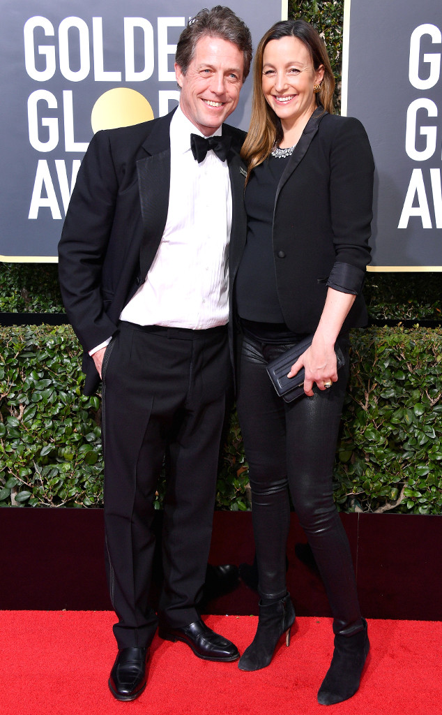 Hugh Grant, Anna Eberstein, 2018 Golden Globes, Couples