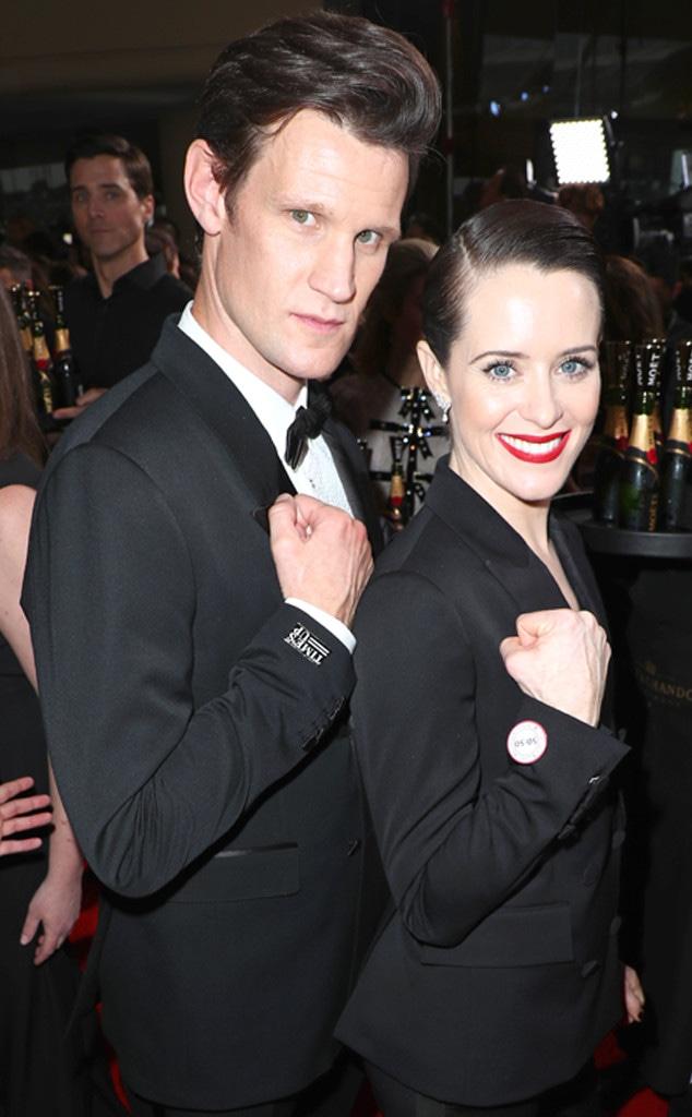 Matt Smith, Claire Foy, 2018 Golden Globes, Candids