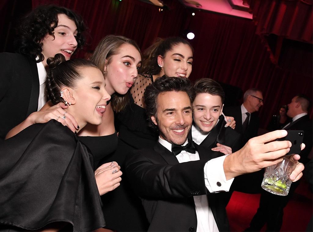 Finn Wolfhard, Millie Bobby Brown, Noah Schnapp, Shawn Levy, 2018 Golden Globes, Party Pics