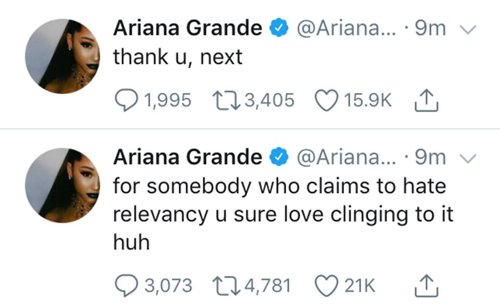 Ariana Grande, Twitter
