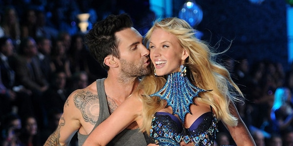 83a1c17aee Adam Levine Kisses Anne V from OMG Moments at Victoria s Secret Fashion  Shows