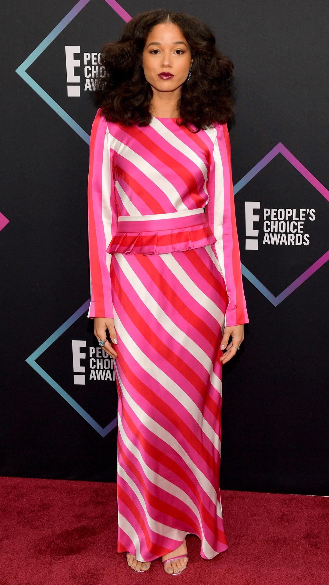 Alisha Wainwright, 2018 Peoples Choice Awards, PCAs, Red Carpet Fashions